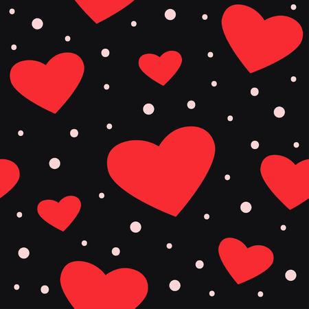 Seamless pattern with hearts and dots on dark background. Vector illustration Ilustração