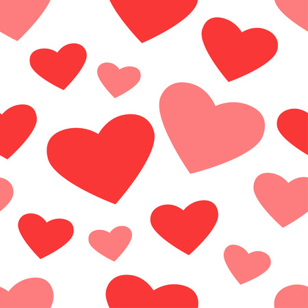 Vector illustration of seamless pattern with hearts on white background