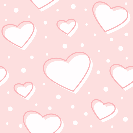 Cute gentle seamless pattern with hearts and dots on pink background. Baby shower girl. Vector illustration Ilustração
