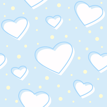 Cute soft seamless pattern with hearts and dots on blue background. Baby shower boy. Vector illustration