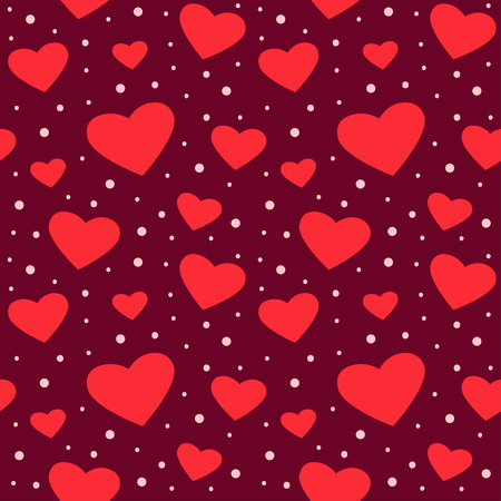 Seamless pattern with hearts and dots on burgundy background. Vector illustration