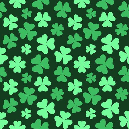 Bright seamless clover pattern for Saint Patricks Day. Vector illustration on dark background