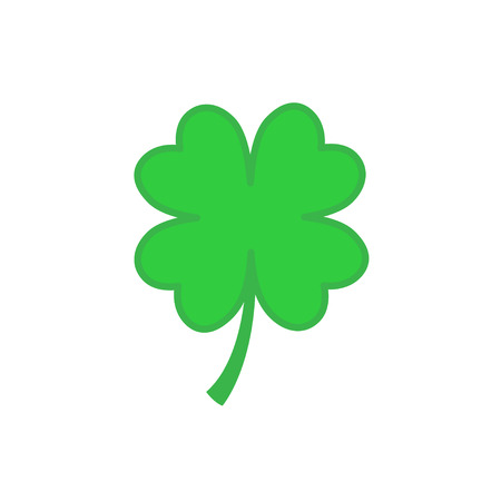 Lucky four-leaf clover icon in flat style. Vector illustration isolated on white background Ilustração