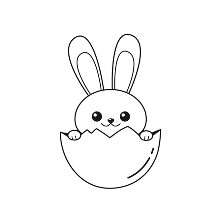 Outline of cheerful Easter Bunny sitting in cracked egg. Vector illustration isolated on white background