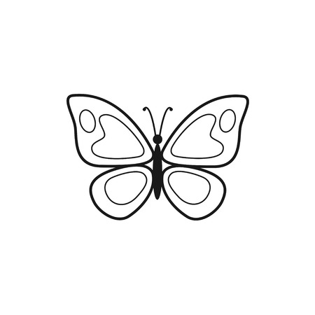 Vector illustration of outline beautiful butterfly isolated on white background