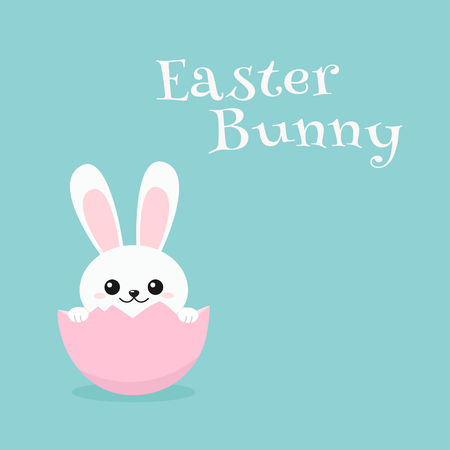 Cheerful Bunny sitting in egg and greeting Happy Easter. Vector illustration on blue background Ilustração