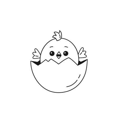 Outline of cheerful chicken baby peeking out of cracked egg. Vector illustration isolated on white background