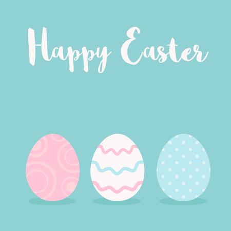 Happy Easter greeting card with colorful eggs. Vector illustration Ilustração
