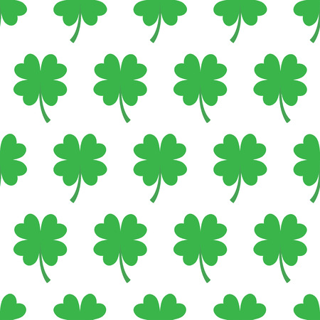 Vector illustration of seamless lucky four-leaf clover pattern on white background
