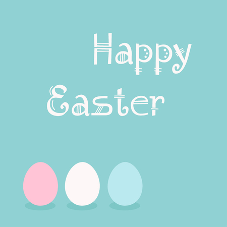 Happy Easter greeting with egg icons. Vector illustration on blue background