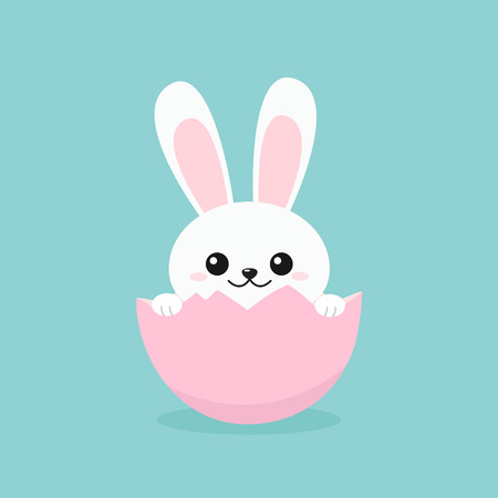 Adorable Easter Bunny peeking out of cracked egg. Vector illustration isolated on blue background