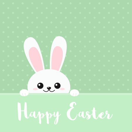 Vector illustration of Happy Easter greeting card with funny adorable peeking rabbit