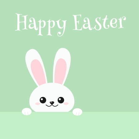 Happy Easter greeting card with funny peeking rabbit. Vector illustration on green background