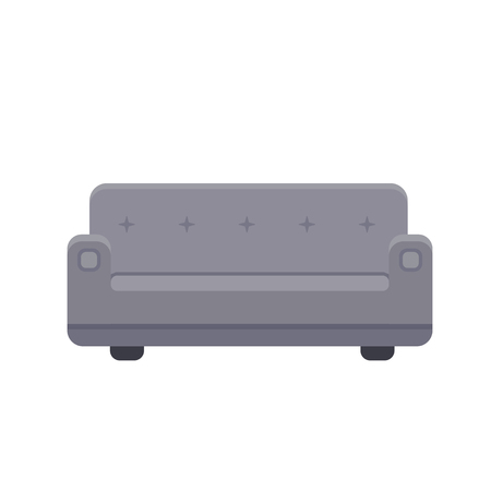 Couch icon in flat style. Vector illustration isolated on white background