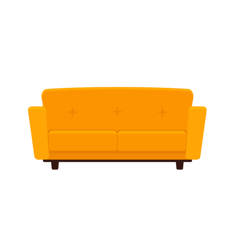 Vector flat illustration of yellow colored couch isolated on white background Ilustração