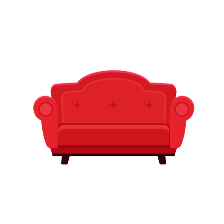 Vector flat illustration of chic red sofa isolated on white background Ilustração