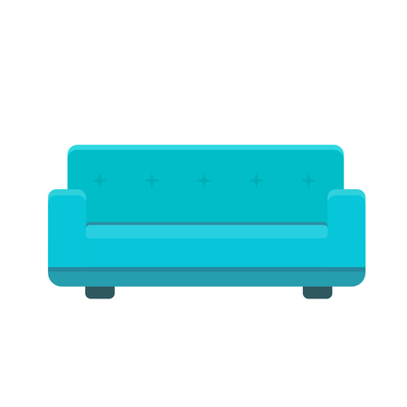 Divan icon in flat style. Vector colored illustration isolated on white background