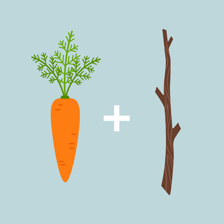 Carrot plus stick motivation concept, vector illustration isolated on blue background Stock Illustratie