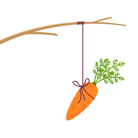 Carrot hanging on stick isolated on white background. Incentive concept vector illustration