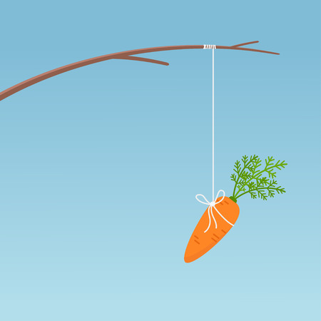 Fishing stick with hanging carrot, motivation concept. Vector illustration on blue background