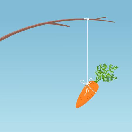Palo de pesca con zanahoria colgante, concepto de motivación. Ilustración de vector sobre fondo azul