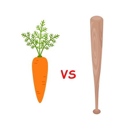 Carrot versus baseball bat isolated on white background. Motivation metaphor vector illustration
