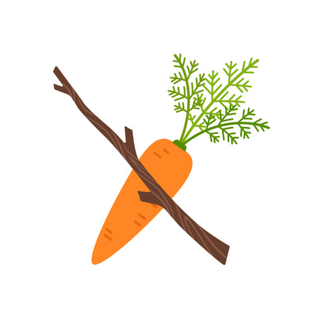 Stick with carrot motivation concept, vector illustration isolated on white background