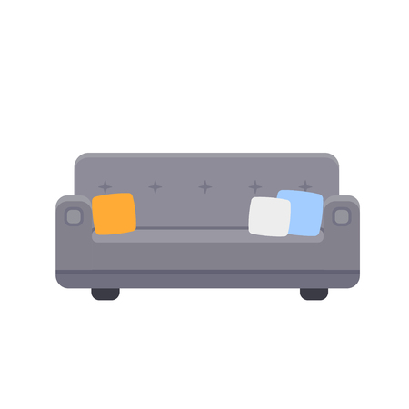 Couch icon with pillows in flat style. Vector illustration isolated on white background Ilustração
