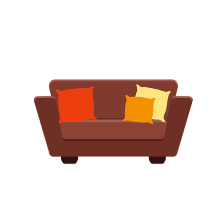 Simple couch icon with pillows in flat style. Vector illustration isolated on white background