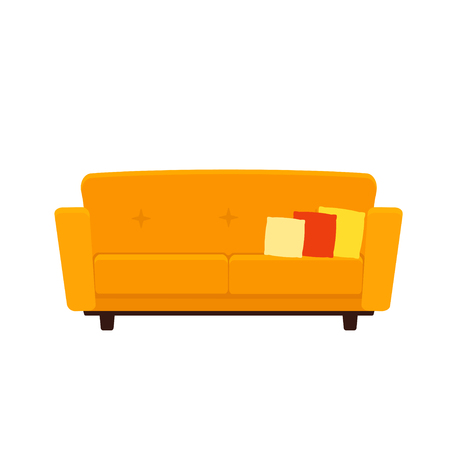 Vector flat illustration of yellow colored couch with pillows isolated on white background