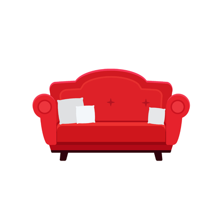 Vector flat illustration of chic red sofa with pillows isolated on white background