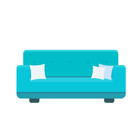 Divan icon with pillows in flat style. Vector colored illustration isolated on white background Ilustração
