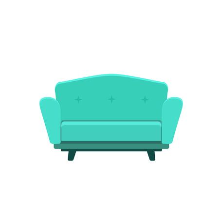 Vector flat illustration of turquoise sofa isolated on white background