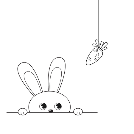 Vector illustration of outline adorable peeking rabbit looking at hanging carrot, isolated on white background
