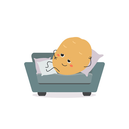 Funny lazy cartoon couch potato laying on small sofa. Vector flat illustration isolated on white background
