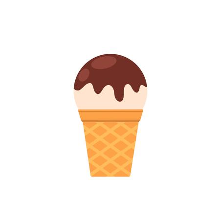 Appetizing vanilla ice cream with chocolate icing. Vector flat illustration isolated on white background Ilustração