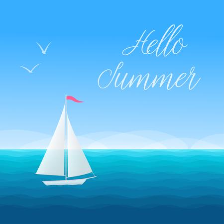 Bonjour Summer banner concept fond marin avec voilier et mouettes. Illustration vectorielle