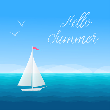 Hello Summer banner concept marine background with sailing boat and seagulls. Vector illustration