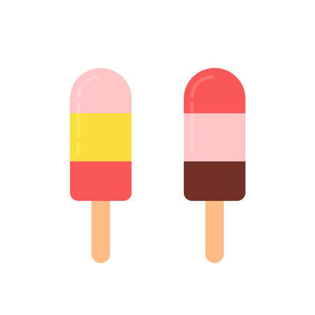 Multicolored frozen ice lolly icons in flat style. Vector illustration isolated on white background Vettoriali