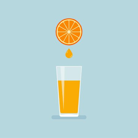 Juice from orange into glass vector illustration