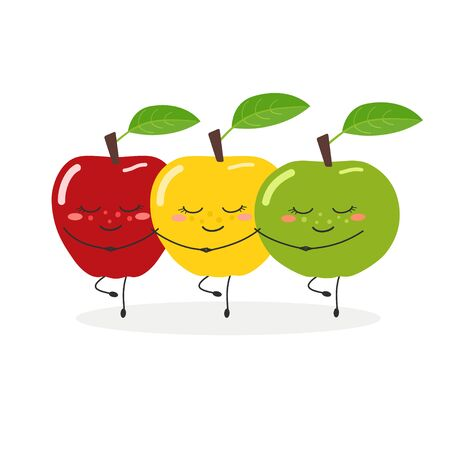 Funny apples dancing Swan Lake vector illustration 向量圖像