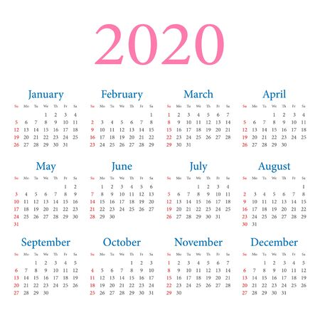 Calendar 2020 year. Week starts on Sunday. Vector simple design template on white background Illusztráció