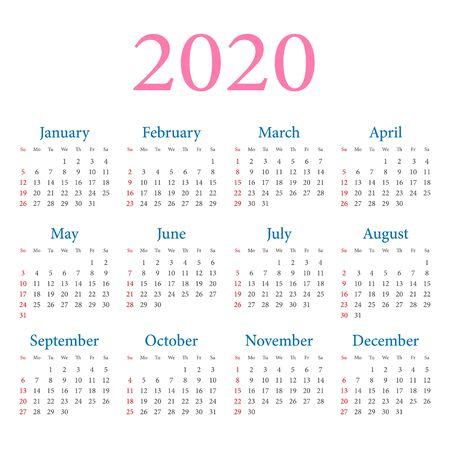 Calendrier 2020 année. La semaine commence le dimanche. Modèle de conception simple de vecteur sur fond blanc