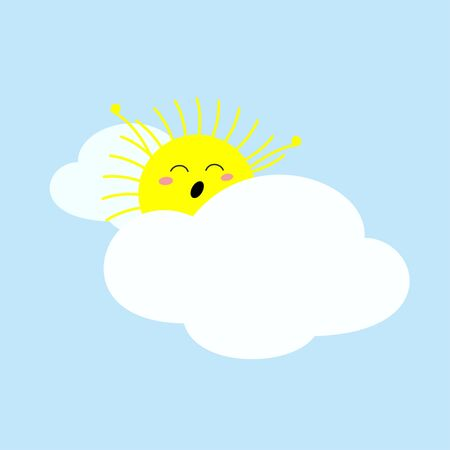 Cute sleepy yawning sun stretching on the cloudy bed. Vector illustration Banque d'images - 131239789