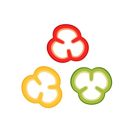 Slices of bell peppers collection vector illustration