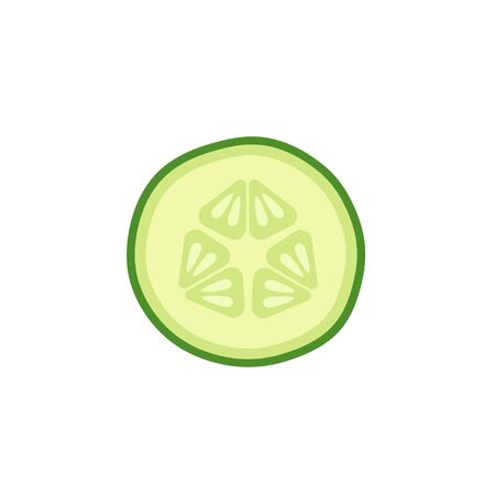 Cucumber slice vector illustration on white background