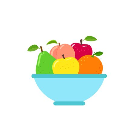 Bowl of fruit in flat style vector illustration