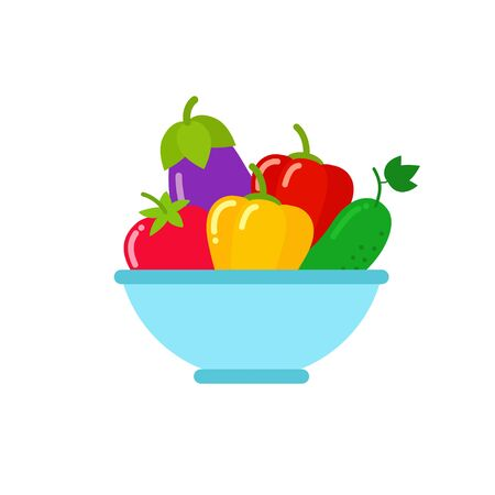 Bowl of vegetables in flat style vector Illustration