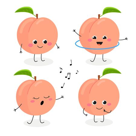 Peach cartoon character emoticon set vector illustration
