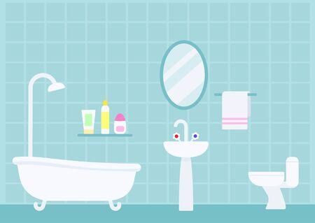Indoor bathroom interior in flat style vector illustration